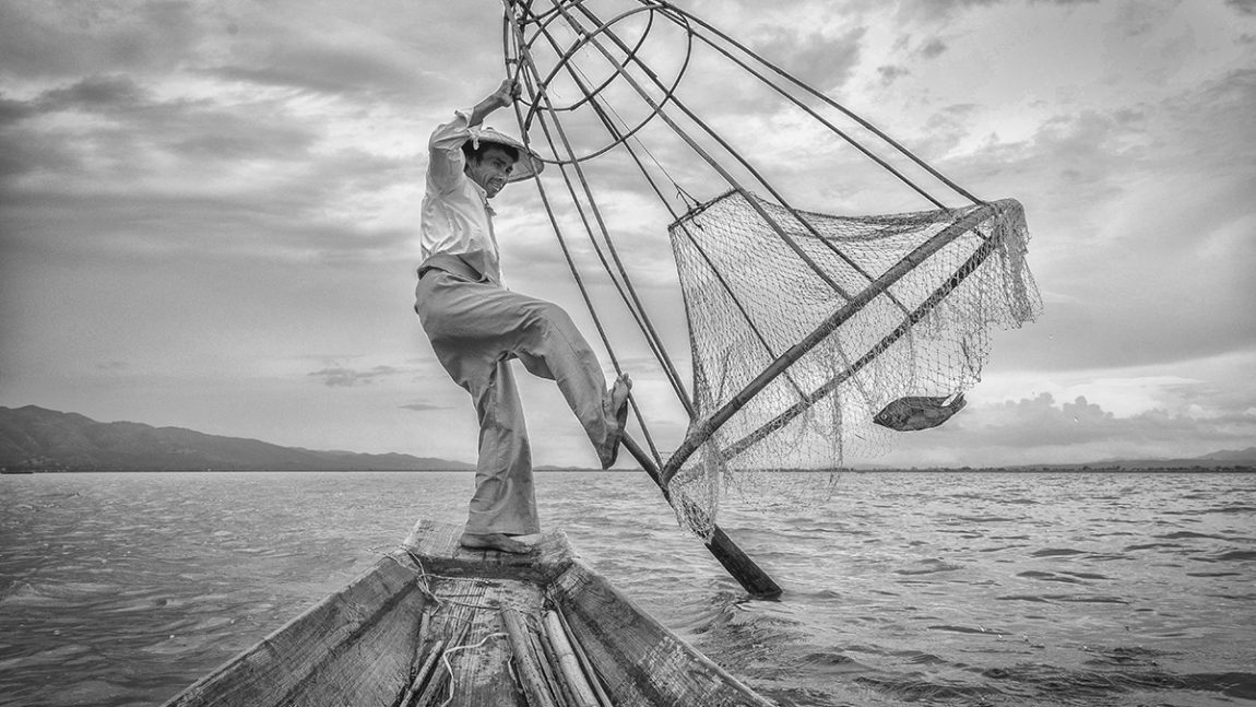 Iconic One-Legged Rowing Fisherman OR Intha Fisherman of Inle-Lake, Myanmar