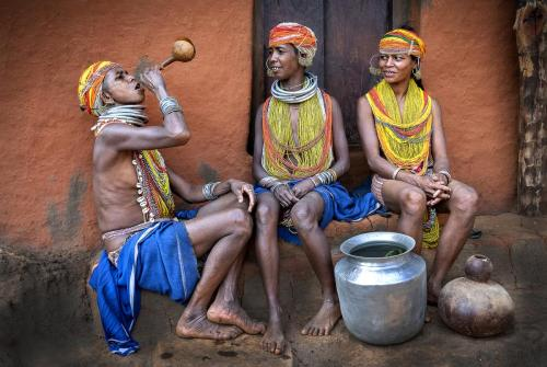 BONDA TRIBAL WOMEN WITH THEIR HOMEMADE LIQUOR